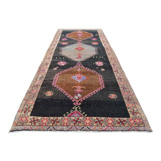 Vintage Hand Knotted Turkish Area or Large Runner Rug - 5′5″ X 14′8″ For Sale