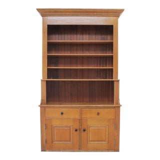 Large American Pine Country Cupboard With Bookshelf For Sale