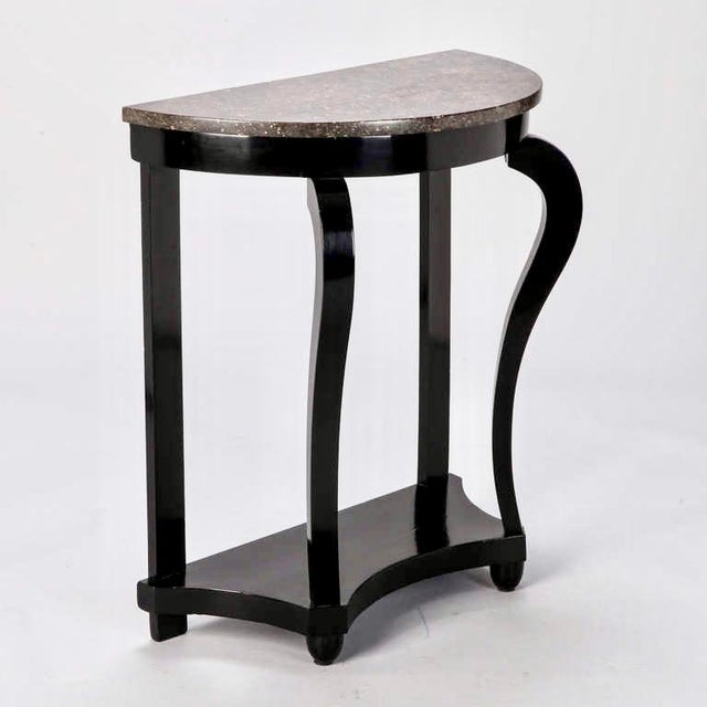 French Demi Lune Ebonised Console with Marble Top - Image 3 of 8