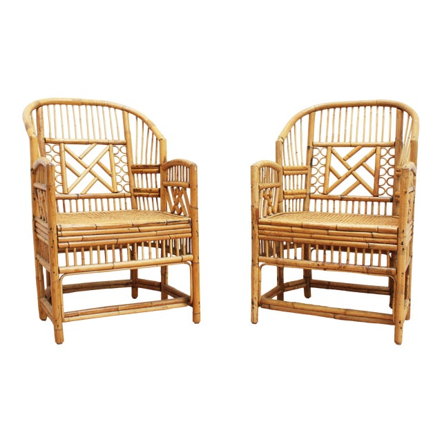 A Pair of Bamboo Brighton Pavilion Chairs - Chinese Chippendale For Sale