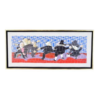 """Vintage Mid-Century Modern """"Exaltation"""" Dancing Rabbis Painting by Meyer Lieberman Nyc For Sale"""