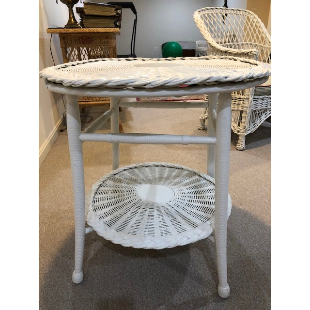 Boho Chic Vintage Wicker Two Tier Table For Sale - Image 3 of 6
