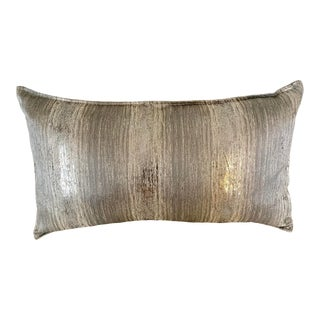 Metallic Silver Stripe Print Rectangular Pillow With Down Filling For Sale