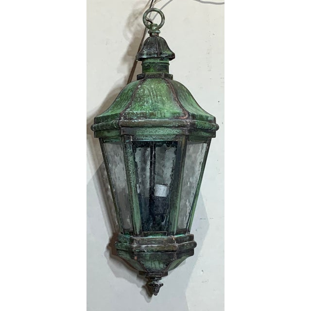 Metal 1970s Solid Brass Verdigris Hanging Lantern For Sale - Image 7 of 13