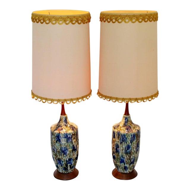 1960s Mid-Century Modern Blue Drip Lava Glaze Ceramic Table Lamps - a Pair For Sale