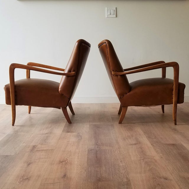 Mid-Century Modern Mid 20th Century Italian Mid-Century Modern Leather Lounge Chairs With Rivets - a Pair For Sale - Image 3 of 13