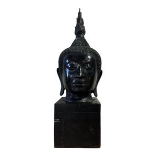 "Extra Large 36"" Buddha Head Sculpture For Sale"