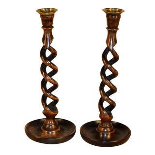 19th-Century Open-Twist Candlesticks - a Pair For Sale