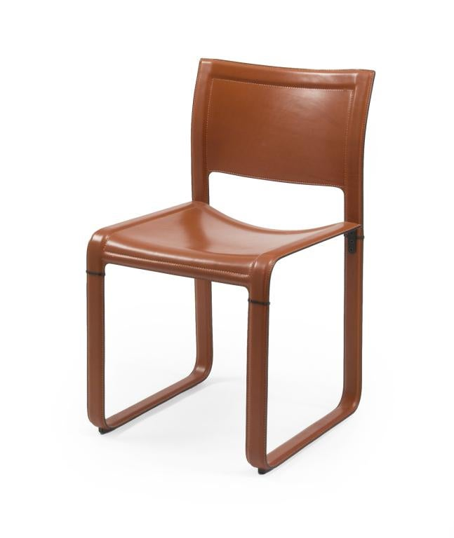 Exceptionnel 1970s MatteoGrassi Leather Wrapped Game Chairs   Set Of 4 For Sale   Image  5 Of