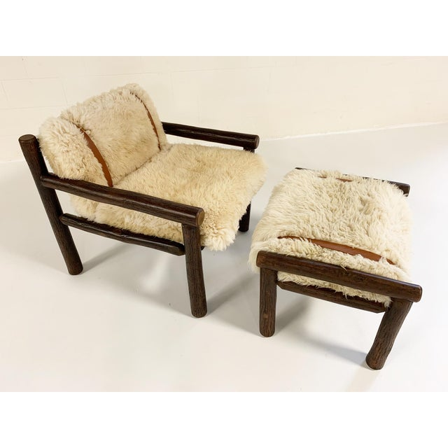 Forsyth X Old Hickory Butte Chair and Ottoman With Custom California Sheepskin Cushions and Loro Piana Buffalo Leather For Sale In Saint Louis - Image 6 of 11
