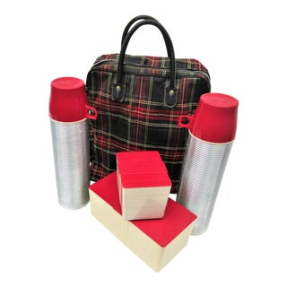 1950s Red Plaid Tote & Thermos Bottles Picnic Set For Sale