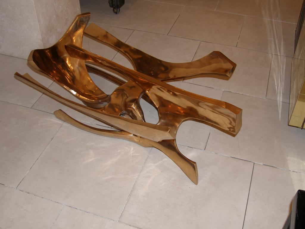 Incredible Signed Fred Brouard Abstract Gilt Bronze Coffee Table