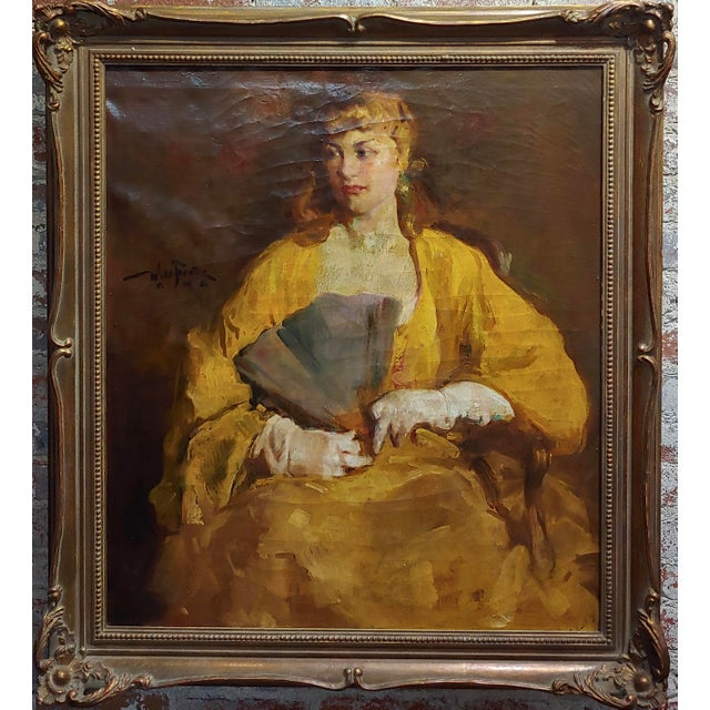 William Frederick Foster -Woman wearing White Gloves- Oil Painting- c1940s oil painting on canvas -Signed circa 1940s...