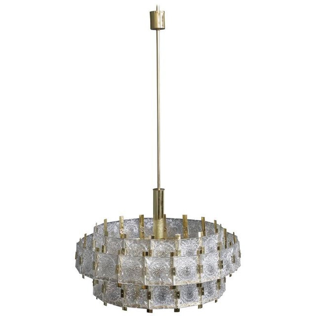 French Mid-Century Modern Brass Chandelier with Glass - Image 11 of 11