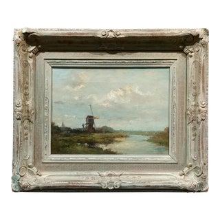 Brock - Dutch Windmill Landscape -19th Century Oil Painting