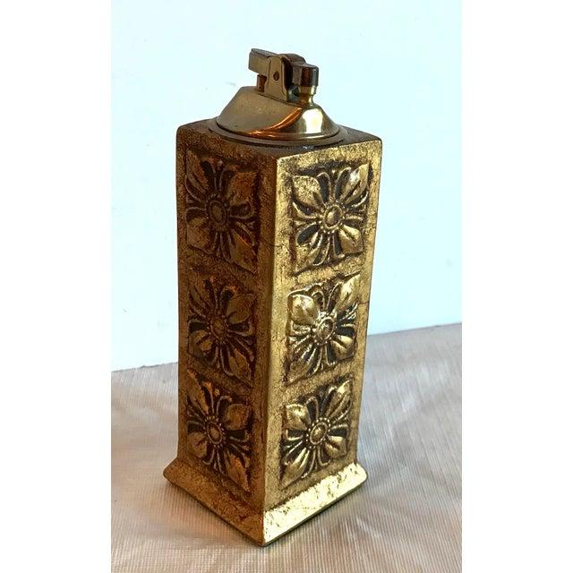 Gold Italian Florentine Gilt Carved Wood Table Lighter For Sale - Image 8 of 8