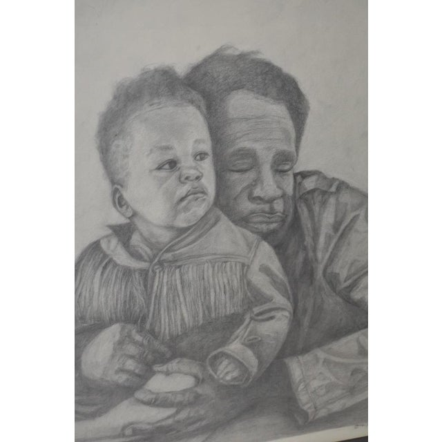 Circa 1960s Father and Son Pencil Portraits - Image 3 of 6
