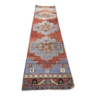 Turkish Oushak Handknotted Low Pile Long Runner For Sale