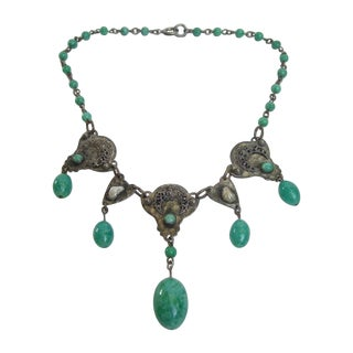 1930s Art Nouveau Peking Glass Tear Drop Choker Necklace For Sale