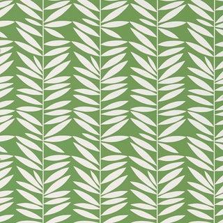Sample - Schumacher Leaf Stripe Wallpaper in Leaf For Sale
