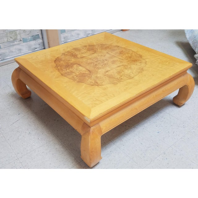 Beautiful Henredon Asian Ming style olive burl wood coffee table with the most beautiful natural wood design on top. Sure...