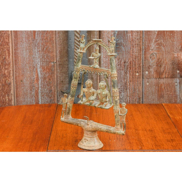 Metal Tribal Bastar Figurines on Swing For Sale - Image 7 of 11