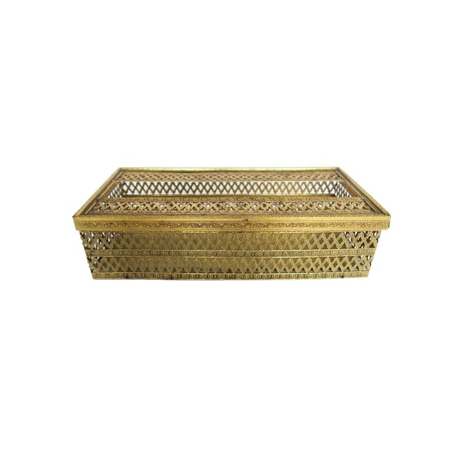 Vintage Gold Brass Hollywood Regency Filigree Tissue Box Holder Cover - Image 2 of 4