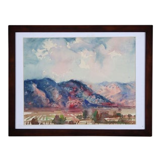 Rod Goebel's Taos Fields Watercolor For Sale