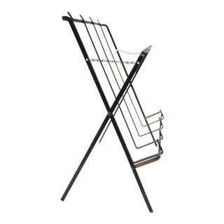 Mid Century American Modern Metal Magazine Rack For Sale
