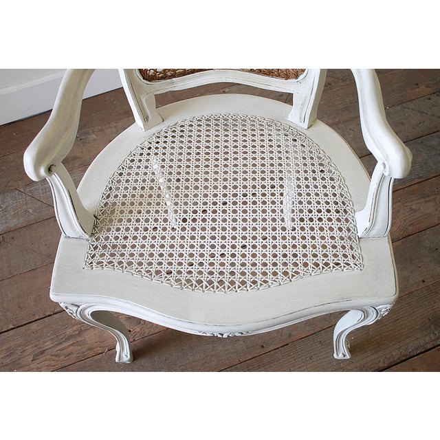 20th Century Vintage Painted Cane Back Open Arm Chairs- A Pair For Sale - Image 4 of 13