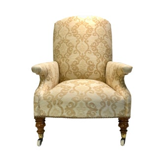 Circa 1910's Edwardian Antique Linen Upholstered Chair