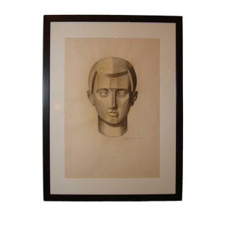 A Cubist Charcoal Drawing on Paper by Emery (Signed) For Sale