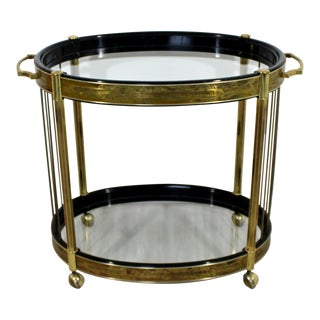 Mid-Century Modern Bernard Rohne Mastercraft Acid Etched Serving Bar Cart, 1970s For Sale