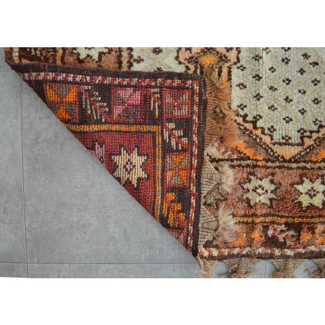 "Turkish Tribal Rug. Faded Colors Petite Kilim Rug - 3'6"" X 4'11"" For Sale - Image 11 of 12"
