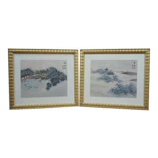 Japanese Pagoda Water Landscape Paintings on Silk Cherry Blossom Gold Frame - a Pair For Sale