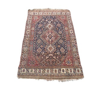 Early 20th Century Antique Persian Qashqai Rug - 4′ × 6′2″ For Sale