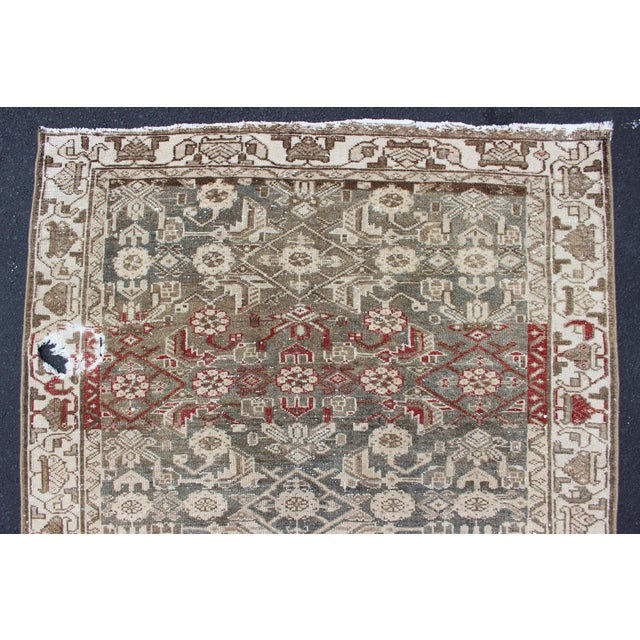 Textile Earthy Tone Vintage Persian Hamadan Rug With All-Over Pattern For Sale - Image 7 of 12
