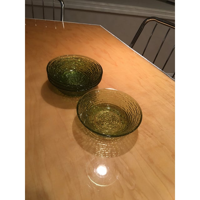 Vintage Libbey Rock Sharpe Olive Green Bowls - Set of 4 For Sale - Image 5 of 7