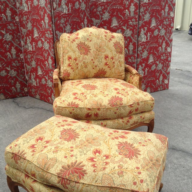 Pearson chair and ottoman, French style