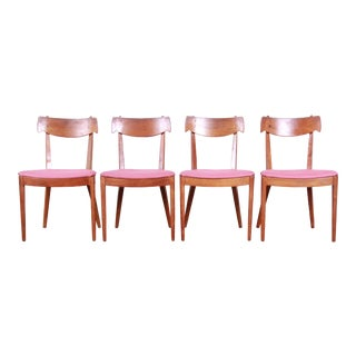 Kipp Stewart for Drexel Declaration Mid-Century Modern Sculpted Walnut Dining Chairs - Set of 4 For Sale