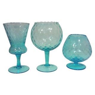 Mid-Century Italian Blue Glass Vases - S/3 For Sale