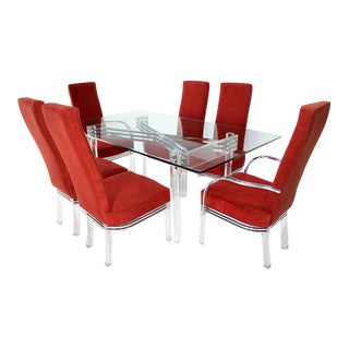 Mid Century Modern Set of Six Dining Chairs and Table in Lucite Chrome Glass For Sale