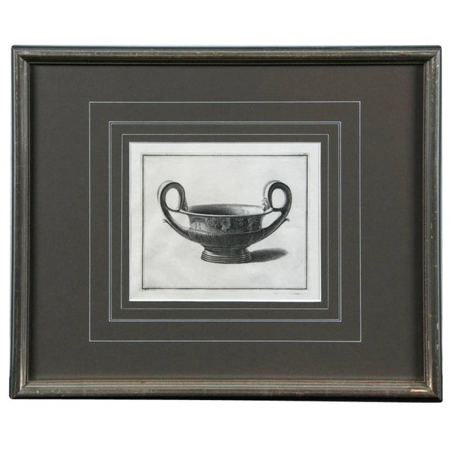 Framed Etching, Neoclassical Vessel, 19th Century For Sale In New York - Image 6 of 6