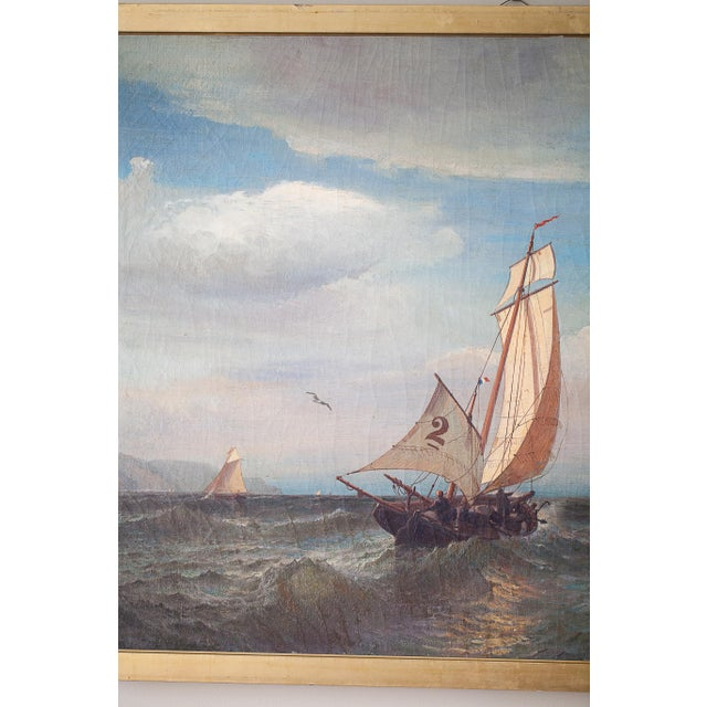 """""""Regatta on a Choppy Sea"""" Oil Painting on Canvas by Julian O. Davidson, Dated 1877 For Sale - Image 12 of 13"""