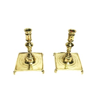 1960s Hollywood Regency Wilton Brass Co. Footed Candle Holders - a Pair