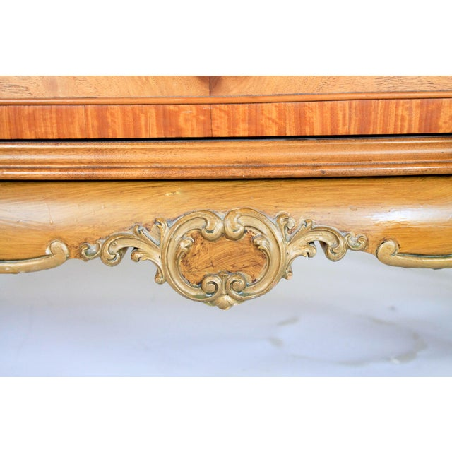 Louis XV Burlwood Bow Front Tall Dresser For Sale - Image 12 of 13