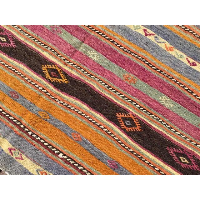 Striped Soft Colored Turkish Kilim Rug For Sale - Image 4 of 9