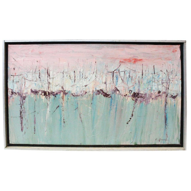 Green Vintage Mid-Century Kenneth Forman Holland Harbor Abstract Painting For Sale - Image 8 of 8
