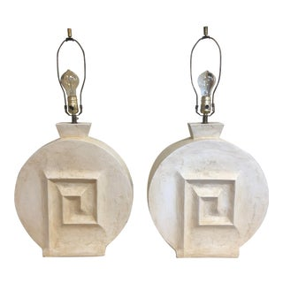 1980's Hand Made Plaster Table Lamps For Sale