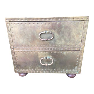 Vintage 1970s Two Drawer Brass Chest For Sale